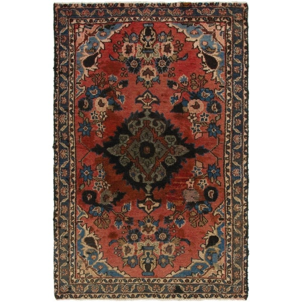 Hand Knotted Shahrbaft Semi Antique Wool Area Rug - 4' x 6' 5