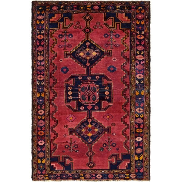 Hand Knotted Shiraz Semi Antique Wool Area Rug - 4' 4 x 6' 10