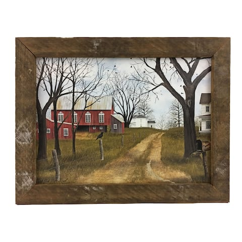 The Old Dirt Road Print with Rustic Reclaimed Tobacco Lath Frame - Multi-color