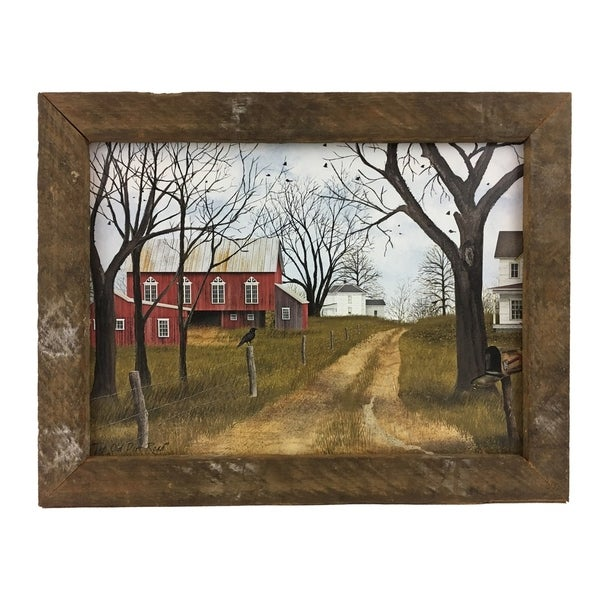 The Old Dirt Road Print with Rustic Reclaimed Tobacco Lath Frame - Multi-color. Opens flyout.