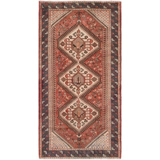 Hand Knotted Shiraz Semi Antique Wool Runner Rug - 5' x 9' 9