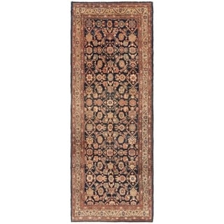 Hand Knotted Shahsavand Semi Antique Wool Runner Rug - 3' 6 x 9' 9