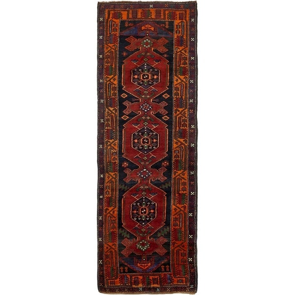 Hand Knotted Shiraz Semi Antique Wool Runner Rug - 3' 7 x 11'