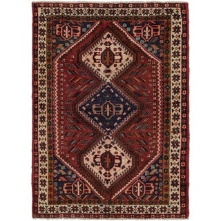 Hand Knotted Shiraz Semi Antique Wool Area Rug - 4' 8 x 6' 8