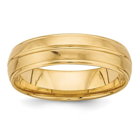 14K Yellow Gold Polished and Satin Heavy Comfort Fit Fancy Band by Versil
