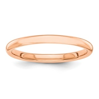 Link to 14K Rose Gold Polished Solid 2mm Domed Wedding Band by Versil Similar Items in Rings