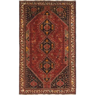 Hand Knotted Shiraz Wool Area Rug - 5' 9 x 9' 4