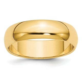 Versil Sterling Silver Gold Plated 6mm Half Round Band