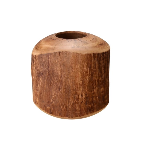 "Villacera Handmade 8"" Round Mango Wood Natural Barrel Vase"