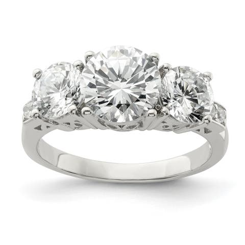 Sterling Silver 3 Stone CZ Ring by Versil