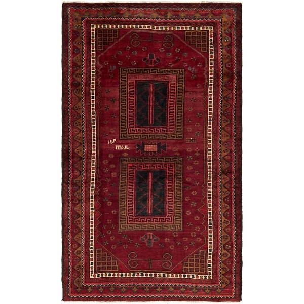 Hand Knotted Shiraz Semi Antique Wool Area Rug - 5' 7 x 9' 6