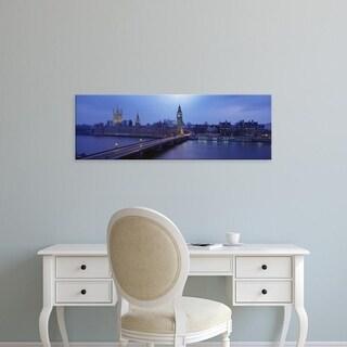 Easy Art Prints Panoramic Images's 'Westminster Bridge, Big Ben, Houses of parliament, London, England' Premium Canvas Art