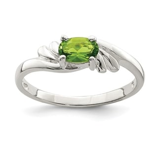 Versil Sterling Silver Lime Green Oval CZ Ring