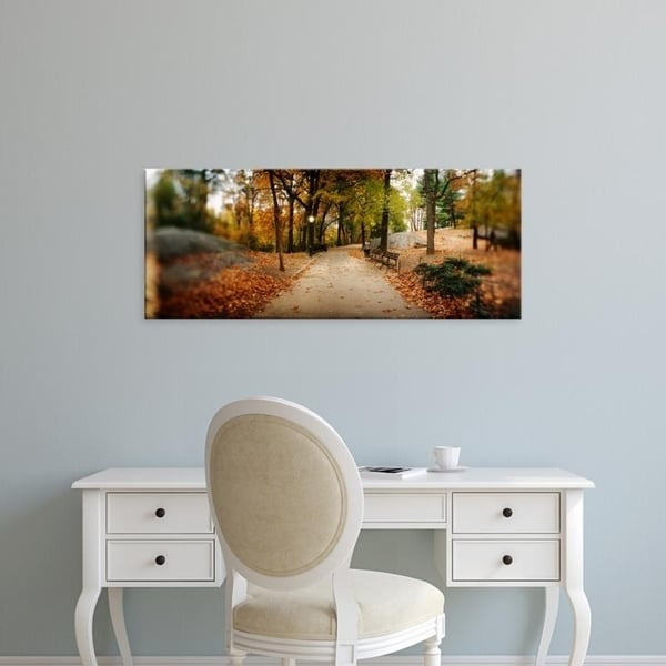 Easy Art Prints Panoramic Images's 'Walkway in a park, Central Park, Manhattan, New York City' Premium Canvas Art