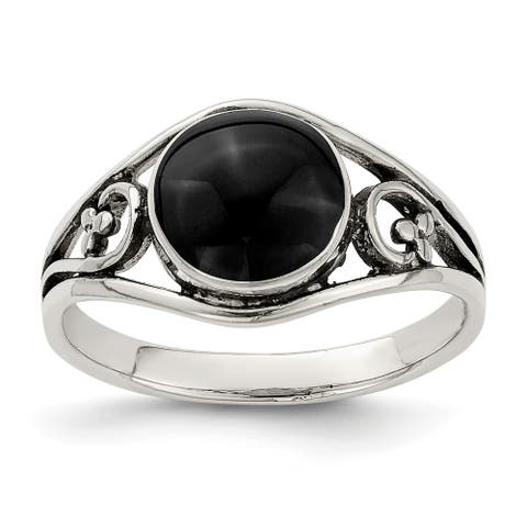 Sterling Silver Antiqued Synthetic Black Agate Ring by Versil