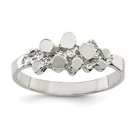 Sterling Silver 3mm Polished and Diamond Cut Nugget Ring by Versil
