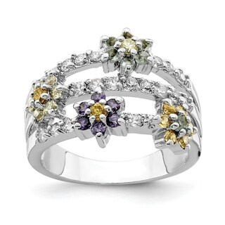 Versil Sterling Silver Multi Color CZ Floral Ring