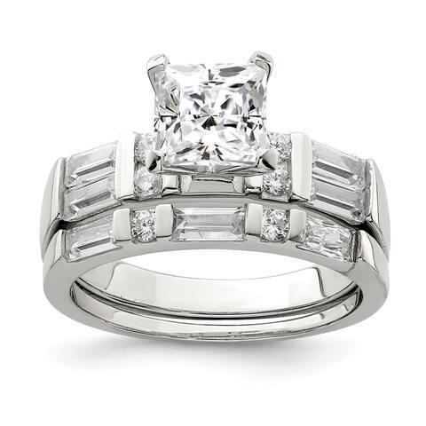 Versil Sterling Silver CZ 2-piece Wedding Ring