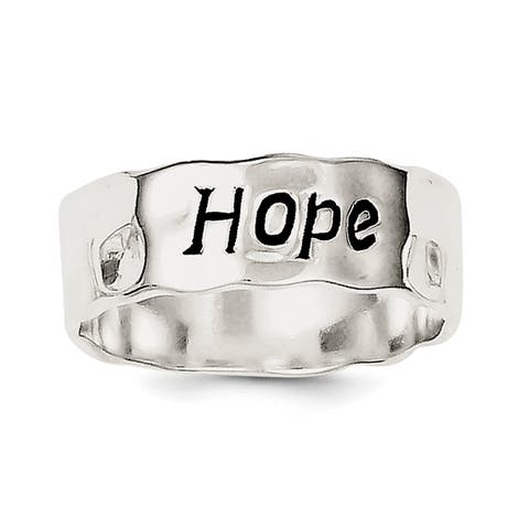 Versil Sterling Silver Enamel, Hammered and Polished Hope Ring