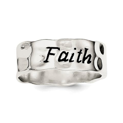 Versil Sterling Silver Enamel, Hammered and Polished Faith Ring