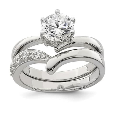 Sterling Silver 2-piece CZ Wedding Ring by Versil
