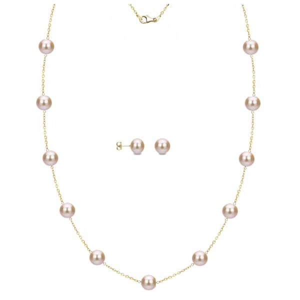 18k yellow gold plated pink flower pearl stud dangle earrings necklace set