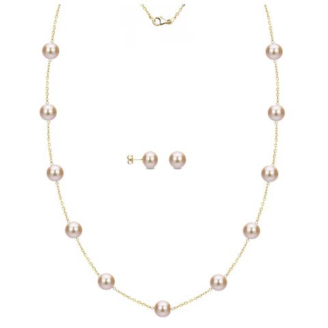 DaVonna 18k Gold over Silver Pink Freshwater Pearl Tin-cup Necklace and Stud Earrings Set (6-9 mm)