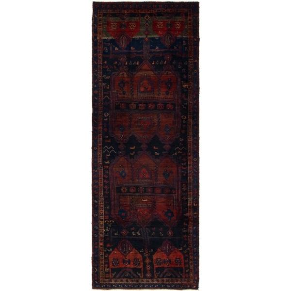 Hand Knotted Shiraz Semi Antique Wool Runner Rug - 3' 3 x 9' 4
