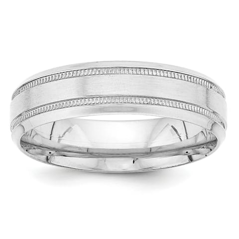 14K White Gold Lightweight Comfort Fit Fancy Wedding Band by Versil
