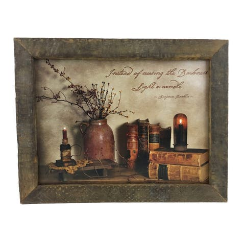 Light a Candle Quote Print with Rustic Reclaimed Tobacco Lath Frame - Multi-color