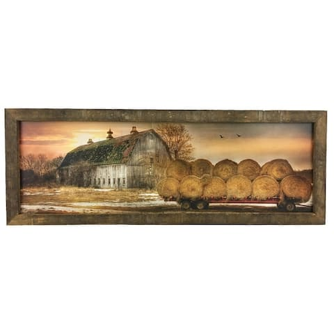 Sunset on the Farm Print w/Rustic Reclaimed Tobacco Lath Frame
