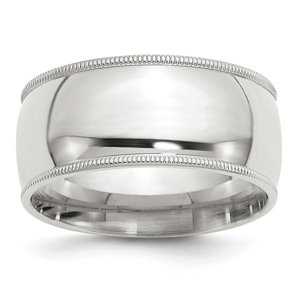 Versil Sterling Silver 10mm Milgrain Comfort Fit Band