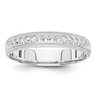 Link to 14K White Gold Rhodium-plated 3mm Design Etched Wedding Band by Versil Similar Items in Rings