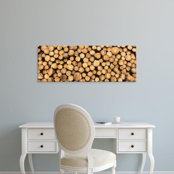Easy Art Prints Panoramic Images's 'Stack of wooden logs, Black Forest, Baden-Wurttemberg, Germany' Premium Canvas Art