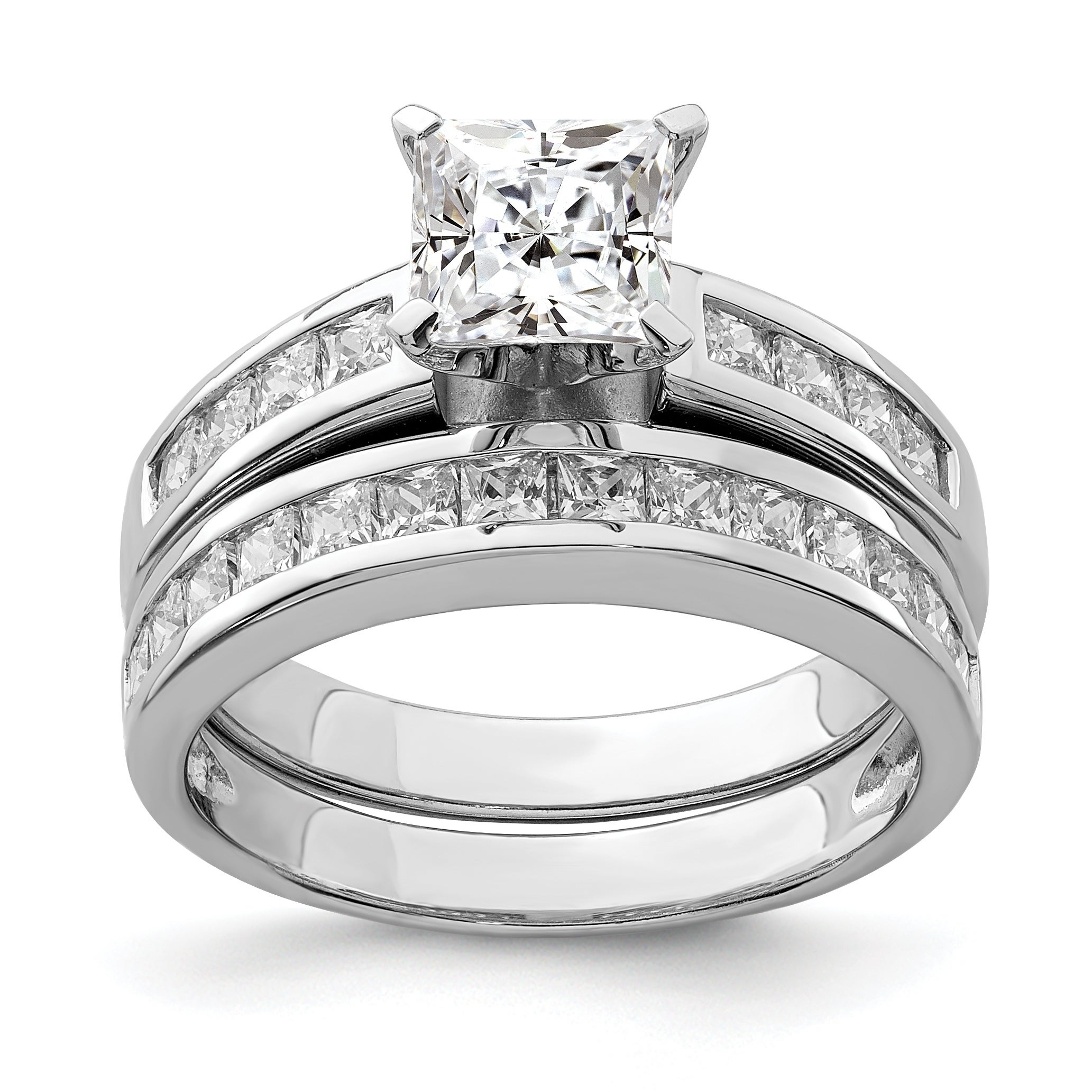 Sterling Silver Rhodium-plated 2-Piece CZ Size 8 Wedding Set Ring