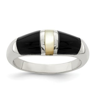 Versil Sterling Silver Onyx And Mother Of Pearl Ring
