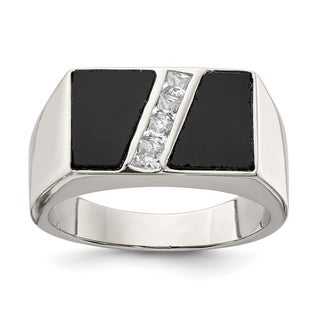 Versil Sterling Silver Men S CZ And Onyx Ring
