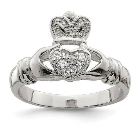 Sterling Silver CZ Claddagh Ring by Versil