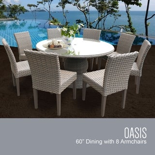Monterey 60 Inch Outdoor Patio Dining Table with 8 Armless Chairs