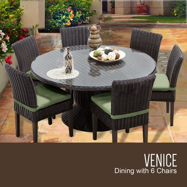 Venice 60 Inch Outdoor Patio Dining Table With 6 Armless Chairs Overstock 24065804