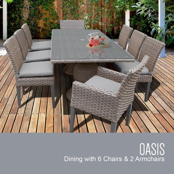 Monterey Rectangular Outdoor Patio Dining Table With 6 Armless Chairs And 2 Chairs W/ Arms