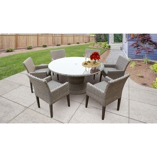 Monterey 60 Inch Outdoor Patio Dining Table with 6 Chairs w/ Arms
