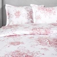 Printed Design Cotton Collection 400 Thread Count Mauve Toile Duvet Set