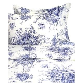 Printed Design Cotton Collection 400 Thread Count Navy Toile Duvet Set