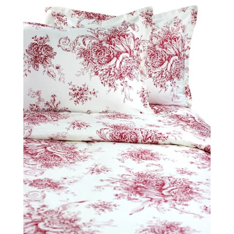 Printed Design Cotton Collection 400 Thread Count Red Toile Duvet Set