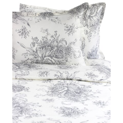 Printed Design Cotton Collection 400 Thread Count Grey Toile Duvet Set