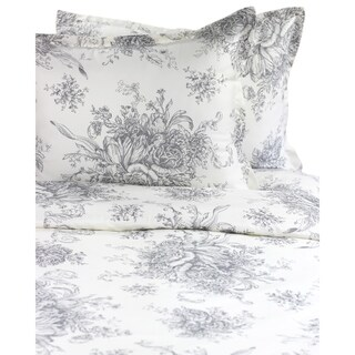Printed Design Cotton Collection 400 Thread Count Grey Toile Duvet Set