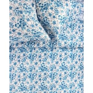 Printed Design Cotton Collection 400 Thread Count Poppy Duvet Set Blue