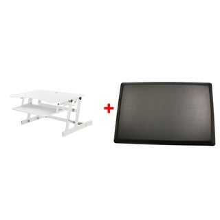 Rocelco - Adjustable Desk Riser - White with Mafm