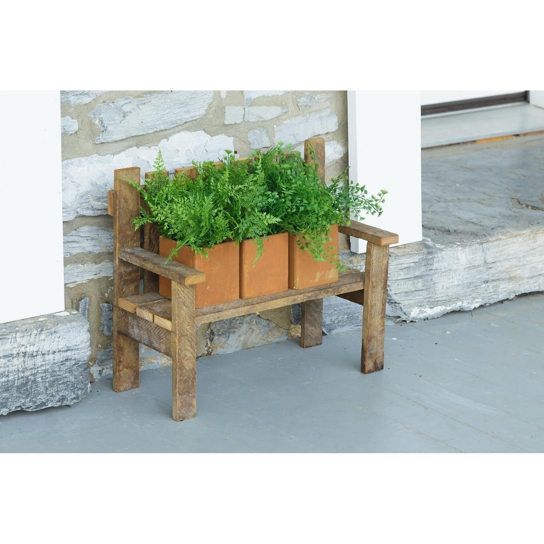 Astonishing Rustic Reclaimed Tobacco Lath Board Small Decorative Garden Bench Short Links Chair Design For Home Short Linksinfo
